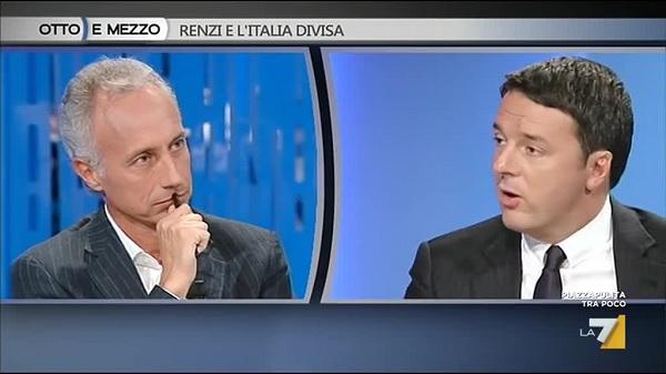 Ascolti Tv giovedì 22 settembre 2016. Quasi 2,3 mln per lo scontro Travaglio-Renzi a Otto e Mezzo
